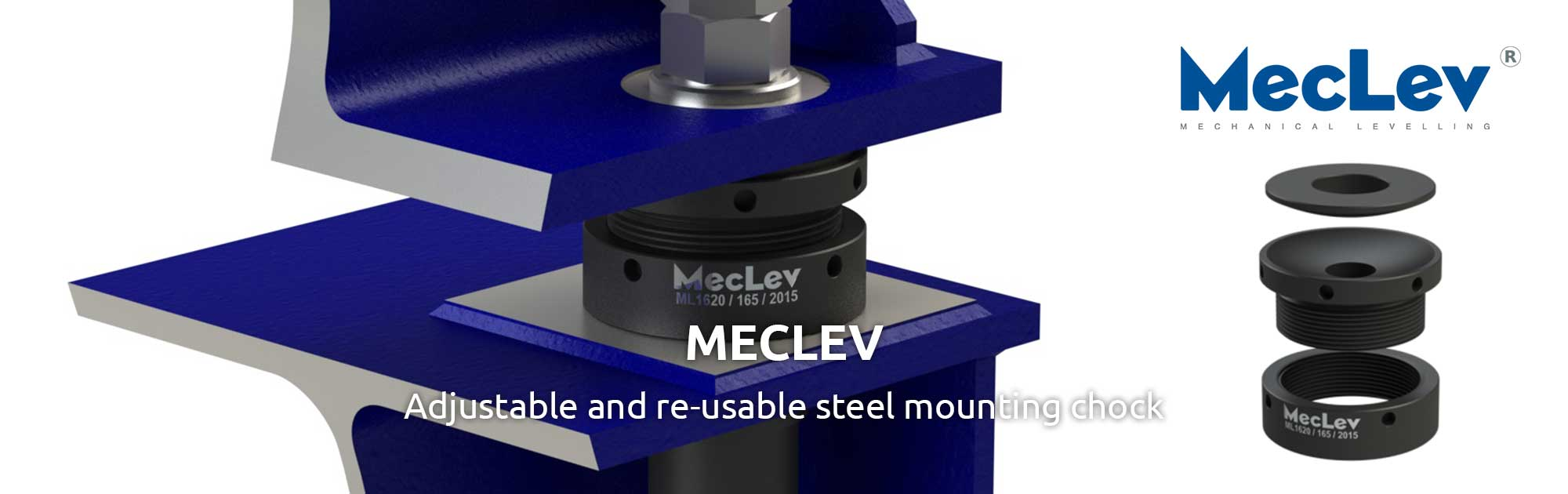 MecLev is an adjustable and re-usable steel mounting chock