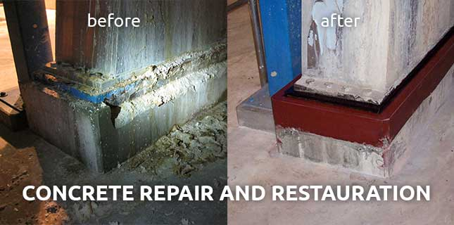Crack injection of broken concrete foundations with epoxy resin: before and after
