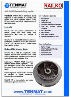 Tenmat Railko NF21 Composite Pump Impeller
